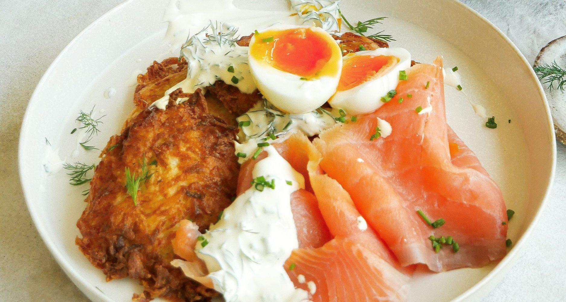 Potato Rosti with Smoked Salmon & Jammy Eggs