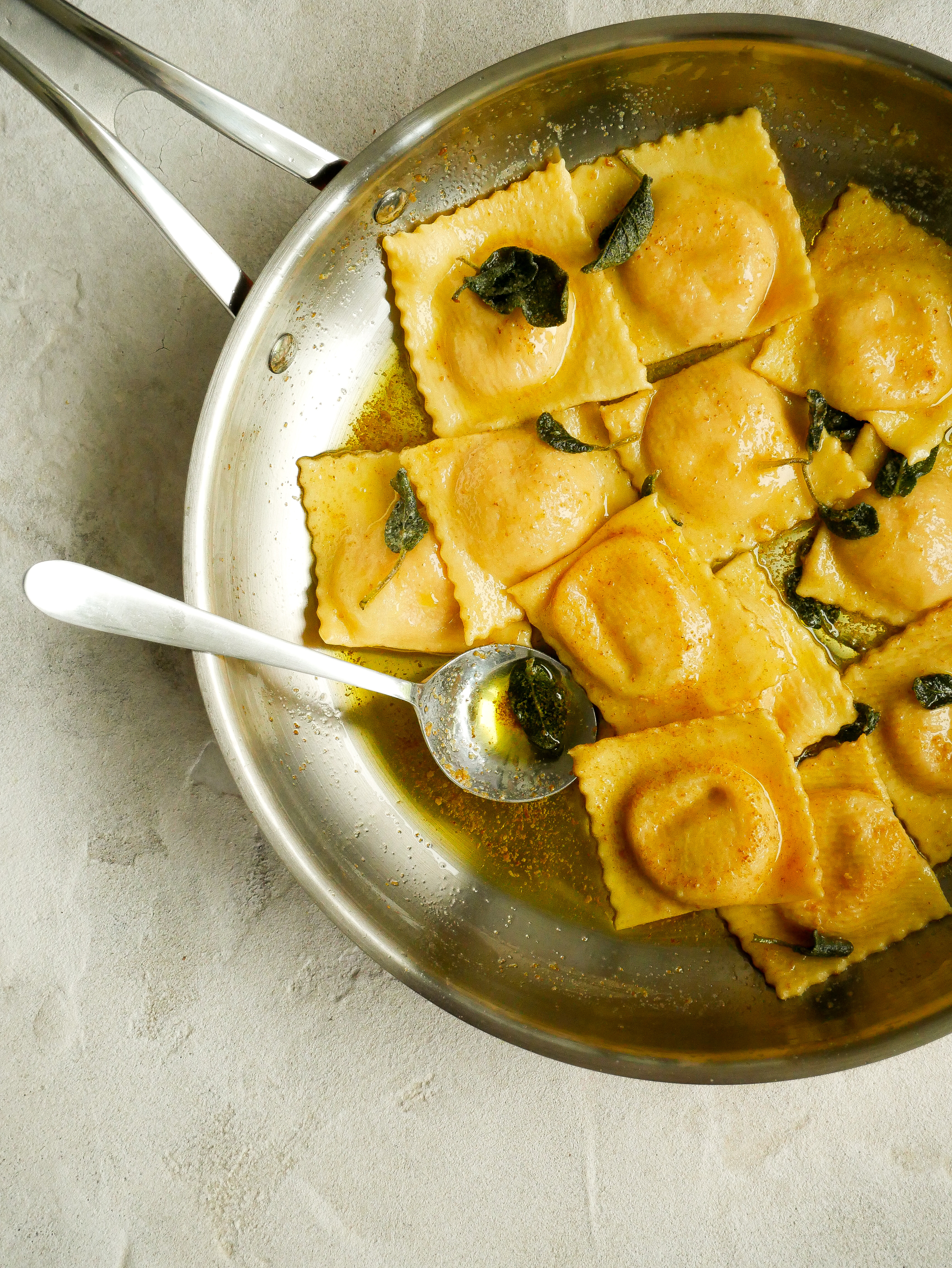 Salmon & Marscapone Ravioli with Brown Butter & Crispy Sage Sauce